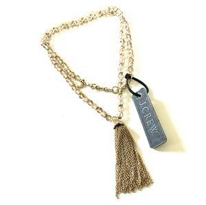 J. CREW pink crystal & gold flower tassel necklace